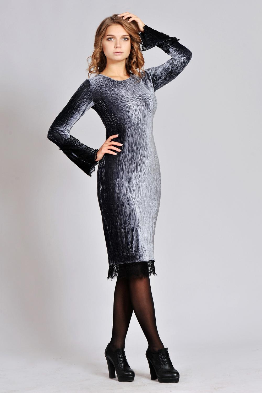 Сіре велюрове плаття - купити в інтернет магазині «Діва» ec24d5a85d37d