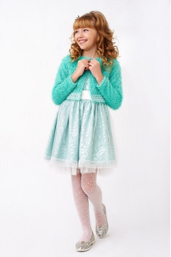 Салатовий костюм для дівчинки з болеро