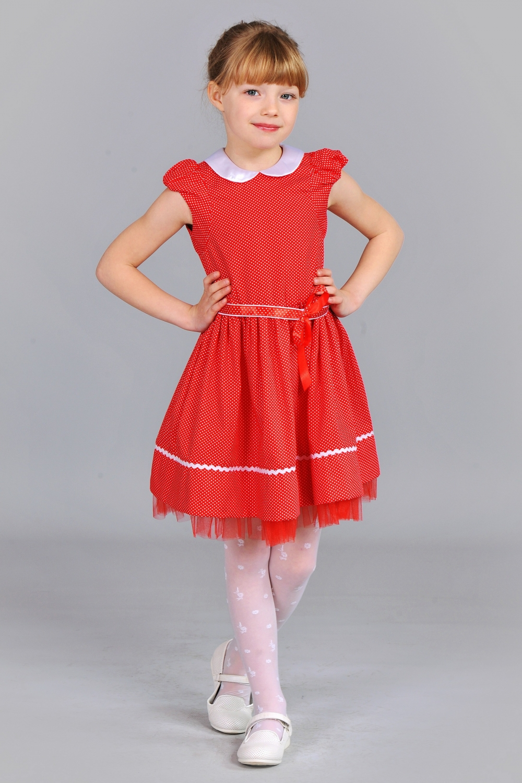 Червоне дитяче плаття в горошок 75396f76a5df8